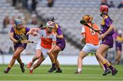 12 September 2021; Michelle McArdle of Armagh in action against Chloe Cashe of Wexford, left, during the All-Ireland Premier Junior Camogie Championship Final match between Armagh and Wexford at Croke Park in Dublin. Photo by Piaras Ó Mídheach/Sportsfile