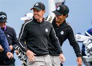 23 September 2021; Rory McIlroy of Team Europe with his caddie Harry Diamond, behind, during a practice round prior to the Ryder Cup 2021 Matches at Whistling Straits in Kohler, Wisconsin, USA. Photo by Tom Russo/Sportsfile