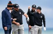 23 September 2021; Rory McIlroy, right, with Shane Lowry and Jon Rahm of Team Europe during a practice round prior to the Ryder Cup 2021 Matches at Whistling Straits in Kohler, Wisconsin, USA. Photo by Tom Russo/Sportsfile