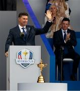 23 September 2021; Team Europe captain Padraig Harrington, watched by his wife Caroline and Rory McIlroy, during the opening ceremony of the Ryder Cup 2021 Matches at Whistling Straits in Kohler, Wisconsin, USA. Photo by Tom Russo/Sportsfile