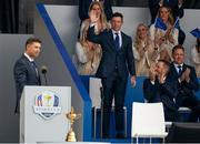 23 September 2021; Rory McIlroy of Team Europe acknowledges the applause as he is introduced by captain Padraig Harrington during the opening ceremony of the Ryder Cup 2021 Matches at Whistling Straits in Kohler, Wisconsin, USA. Photo by Tom Russo/Sportsfile