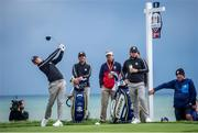 23 September 2021; Rory McIlroy of Team Europe, in the company of team-mate Tyrrell Hatton and Brendan Lowry, right, father of Shane Lowry, watches his drive at the ninth tee box during a practice round prior to the Ryder Cup 2021 Matches at Whistling Straits in Kohler, Wisconsin, USA. Photo by Tom Russo/Sportsfile