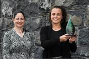 24 September 2021; Meath's Emma Duggan is pictured with The Croke Park/LGFA Player of the Month award for September, with Ina Iazar, Sales Manager at The Croke Park in Jones Road, Dublin. Emma, from the Dunboyne club, scored 1-2 in the famous TG4 All-Ireland Senior Final victory over Dublin at Croke Park on Sunday, September 5, with her first half goal proving crucial to the end result. Photo by Matt Browne/Sportsfile