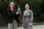 24 September 2021; Meath's Emma Duggan is pictured with The Croke Park/LGFA Player of the Month award for September, with Ina Iazar Sales Manager at The Croke Park in Jones Road, Dublin. Emma, from the Dunboyne club, scored 1-2 in the famous TG4 All-Ireland Senior Final victory over Dublin at Croke Park on Sunday, September 5, with her first half goal proving crucial to the end result. Photo by Matt Browne/Sportsfile