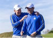 24 September 2021; Rory McIlroy, right, and Ian Poulter of Team Europe during their Friday morning foursomes match against Patrick Cantlay and Xander Schauffele of Team USA at the Ryder Cup 2021 Matches at Whistling Straits in Kohler, Wisconsin, USA. Photo by Tom Russo/Sportsfile