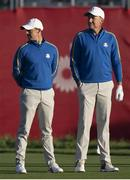 24 September 2021; Rory McIlroy, left, and Ian Poulter of Team Europe during their Friday morning foursomes match against Patrick Cantlay and Xander Schauffele of Team USA at the Ryder Cup 2021 Matches at Whistling Straits in Kohler, Wisconsin, USA. Photo by Tom Russo/Sportsfile