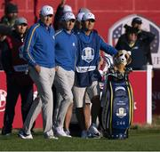 24 September 2021; Ian Poulter, left, and Rory McIlroy of Team Europe during their Friday morning foursomes match against Patrick Cantlay and Xander Schauffele of Team USA at the Ryder Cup 2021 Matches at Whistling Straits in Kohler, Wisconsin, USA. Photo by Tom Russo/Sportsfile
