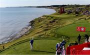 24 September 2021; Ian Poulter of Team Europe watches his tee shot from the third tee box during his Friday morning foursomes match with Rory McIlroy against Patrick Cantlay and Xander Schauffele of Team USA at the Ryder Cup 2021 Matches at Whistling Straits in Kohler, Wisconsin, USA. Photo by Tom Russo/Sportsfile