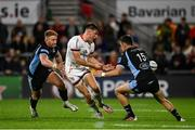 24 September 2021; Ethan McIlroy of Ulster in action against Kyle Steyn, left, and Cole Forbes of Glasgow Warriors during the United Rugby Championship match between Ulster and Glasgow Warriors at Kingspan Stadium in Belfast. Photo by Harry Murphy/Sportsfile
