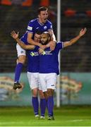 24 September 2021; Ethan Boyle of Finn Harps, right, celebrates with team-mates, Sean Boyd, left, and Ryan Rainey after scoring his side's first goal during the SSE Airtricity League Premier Division match between Bohemians and Finn Harps at Dalymount Park in Dublin. Photo by Piaras Ó Mídheach/Sportsfile