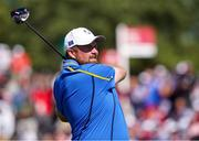 24 September 2021; Shane Lowry of Team Europe watches his shot during his Friday afternoon fourballs match with Rory McIlroy against Tony Finau and Harris English of Team USA at the Ryder Cup 2021 Matches at Whistling Straits in Kohler, Wisconsin, USA. Photo by Tom Russo/Sportsfile