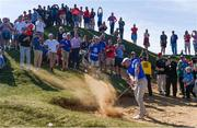 24 September 2021; Rory McIlroy of Team Europe chips from a bunker during their Friday afternoon fourballs match against Tony Finau and Harris English of Team USA at the Ryder Cup 2021 Matches at Whistling Straits in Kohler, Wisconsin, USA. Photo by Tom Russo/Sportsfilee
