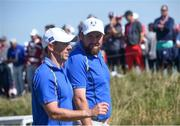 24 September 2021; Shane Lowry, right, and Rory McIlroy of Team Europe during their Friday afternoon fourballs match against Tony Finau and Harris English of Team USA at the Ryder Cup 2021 Matches at Whistling Straits in Kohler, Wisconsin, USA. Photo by Tom Russo/Sportsfile