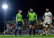 24 September 2021; Referee Ben Whitehouse watches a TMO during the United Rugby Championship match between Ulster and Glasgow Warriors at Kingspan Stadium in Belfast. Photo by Harry Murphy/Sportsfile