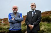 25 September 2021; Uachtarán Chumann Lúthchleas Gael Larry McCarthy, right, with Event sponsor Martin Donnelly during the M. Donnelly GAA All-Ireland Poc Fada finals at Annaverna Mountain in the Cooley Peninsula, Ravensdale, Louth. Photo by Ben McShane/Sportsfile