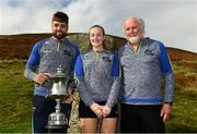 25 September 2021; Winner Colin Ryan of Limerick, left, with Martina McMahon of Limerick, centre, and event sponsor Martin Donnelly after the M. Donnelly GAA All-Ireland Poc Fada finals at Annaverna Mountain in the Cooley Peninsula, Ravensdale, Louth. Photo by Ben McShane/Sportsfile