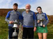 25 September 2021; Winners Colin Ryan of Limerick, left, and Molly Lynch of Cork, right, with event sponsor Martin Donnelly after the M. Donnelly GAA All-Ireland Poc Fada finals at Annaverna Mountain in the Cooley Peninsula, Ravensdale, Louth. Photo by Ben McShane/Sportsfile