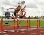 25 September 2021; Kate Brennan from Cong, Mayo, on her way to winning the Girls under-14 Hurdles during the Aldi Community Games Track and Field Athletics finals at Carlow IT Sports Campus in Carlow. Photo by Matt Browne/Sportsfile