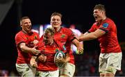 25 September 2021; Craig Casey of Munster, front, celebrates with team-mates, from left, Andrew Conway, Gavin Coombes, and Jack O'Donoghue after scoring his side's second try during the United Rugby Championship match between Munster and Cell C Sharks at Thomond Park in Limerick. Photo by Piaras Ó Mídheach/Sportsfile
