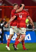 25 September 2021; Gavin Coombes of Munster, left, celebrates with team-mate Jean Kleyn after scoring their side's fourth try during the United Rugby Championship match between Munster and Cell C Sharks at Thomond Park in Limerick. Photo by Seb Daly/Sportsfile