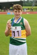 25 September 2021; Theo Hanlon from Edenderry, Offaly, after he won the Boys under-14 Shot Putt during the Aldi Community Games Track and Field Athletics finals at Carlow IT Sports Campus in Carlow. Photo by Matt Browne/Sportsfile