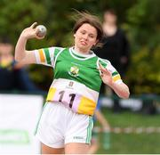 25 September 2021; Emma Foley from Ferbane, Offaly, after she won the girls under-16 shot putt during the Aldi Community Games Track and Field Athletics finals at Carlow IT Sports Campus in Carlow. Photo by Matt Browne/Sportsfile