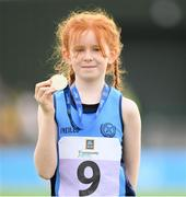 25 September 2021; Ella Duffy from Dublin after she won the Girls under-10 100 metre during the Aldi Community Games Track and Field Athletics finals at Carlow IT Sports Campus in Carlow. Photo by Matt Browne/Sportsfile