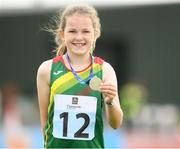 25 September 2021; Ava Broderick from Carlow after she came second in the Girls under-10 100 metre during the Aldi Community Games Track and Field Athletics finals at Carlow IT Sports Campus in Carlow. Photo by Matt Browne/Sportsfile