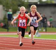 25 September 2021; Lauren O'Sullivan from Kinsale, Cork, on her way to finishing third in the Girls under-8 60 metre during the Aldi Community Games Track and Field Athletics finals at Carlow IT Sports Campus in Carlow. Photo by Matt Browne/Sportsfile