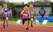 25 September 2021; Lauren O'Sullivan, from Kinsale, Cork, on her way to finishing third in the Girls under-8 60 metres during the Aldi Community Games Track and Field Athletics finals at Carlow IT Sports Campus in Carlow. Photo by Matt Browne/Sportsfile