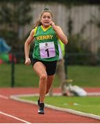25 September 2021; Saoirse Dillon, from Duagh-Lyre, Kerry, who came second in the Girls under-14 100 metre during the Aldi Community Games Track and Field Athletics finals at Carlow IT Sports Campus in Carlow. Photo by Matt Browne/Sportsfile