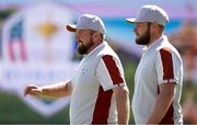 25 September 2021; Shane Lowry, left, and Tyrrell Hatton of Team Europe during their Saturday afternoon fourballs match against Tony Finau and Harris English of Team USA at the Ryder Cup 2021 Matches at Whistling Straits in Kohler, Wisconsin, USA. Photo by Tom Russo/Sportsfile