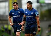 25 September 2021; Michael Ala'alatoa, right, and James Ryan of Leinster during the United Rugby Championship match between Leinster and Vodacom Bulls at the Aviva Stadium in Dublin. Photo by Harry Murphy/Sportsfile