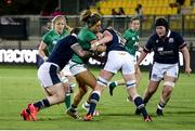 25 September 2021; Sene Naoupu of Ireland is tackled by Siobhan Cattigan of Scotland during the Rugby World Cup 2022 Europe qualifying tournament match between Ireland and Scotland at Stadio Sergio Lanfranchi in Parma, Italy. Photo by Roberto Bregani/Sportsfile