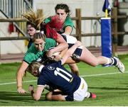 25 September 2021; Eimear Considine of Ireland is tackled by Megan Gaffney of Scotland during the Rugby World Cup 2022 Europe qualifying tournament match between Ireland and Scotland at Stadio Sergio Lanfranchi in Parma, Italy. Photo by Roberto Bregani/Sportsfile