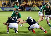 25 September 2021; Ciara Griffin of Ireland in action against Rachel Malcolm, left, and Lana Skeldon of Scotland during the Rugby World Cup 2022 Europe qualifying tournament match between Ireland and Scotland at Stadio Sergio Lanfranchi in Parma, Italy. Photo by Roberto Bregani/Sportsfile