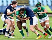 25 September 2021; Linda Djougang of Ireland is tackled by Lana Skeldon of Scotland during the Rugby World Cup 2022 Europe qualifying tournament match between Ireland and Scotland at Stadio Sergio Lanfranchi in Parma, Italy. Photo by Roberto Bregani/Sportsfile