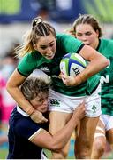 25 September 2021; Eimear Considine of Ireland is tackled by Hannah Smith of Scotland during the Rugby World Cup 2022 Europe qualifying tournament match between Ireland and Scotland at Stadio Sergio Lanfranchi in Parma, Italy. Photo by Roberto Bregani/Sportsfile