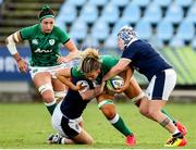 25 September 2021; Dorothy Wall of Ireland is tackled by Lana Skeldon of Scotland during the Rugby World Cup 2022 Europe qualifying tournament match between Ireland and Scotland at Stadio Sergio Lanfranchi in Parma, Italy. Photo by Roberto Bregani/Sportsfile