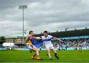 26 September 2021; Paul Mannion of Kilmacud Crokes in action against Joe Cherry of St Vincent's during the Go Ahead Dublin Senior Club Football Championship Group 2 match between Kilmacud Crokes and St Vincents at Parnell Park in Dublin. Photo by David Fitzgerald/Sportsfile