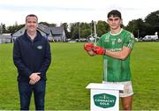 26 September 2021; Tommy Conroy of The Neale is presented with the Connacht Gold man of the match award by John Connor, Area Sales Manager of Aurivo Consumer Foods, after the Mayo Senior Club Football Championship Group 4 match between Breaffy and The Neale at Breaffy GAA Club in Mayo. Photo by Piaras Ó Mídheach/Sportsfile