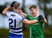 26 September 2021; Ronan Hughes of The Neale marks Aidan O'Shea of Breaffy during the Mayo Senior Club Football Championship Group 4 match between Breaffy and The Neale at Breaffy GAA Club in Mayo. Photo by Piaras Ó Mídheach/Sportsfile