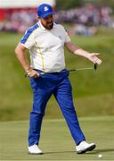 26 September 2021; Shane Lowry of Team Europe lines up a putt on the first green during his Sunday singles match against Patrick Cantlay of Team USA at the Ryder Cup 2021 Matches at Whistling Straits in Kohler, Wisconsin, USA. Photo by Tom Russo/Sportsfile
