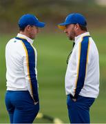 26 September 2021; Rory McIlroy of Team Europe, left, with vice captain Graeme McDowell before his Sunday singles match against Xander Schauffele of Team USA at the Ryder Cup 2021 Matches at Whistling Straits in Kohler, Wisconsin, USA. Photo by Tom Russo/Sportsfile