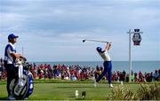 26 September 2021; Rory McIlroy of Team Europe plays a shot from the second tee box during his Sunday singles match against Xander Schauffele of Team USA at the Ryder Cup 2021 Matches at Whistling Straits in Kohler, Wisconsin, USA. Photo by Tom Russo/Sportsfile