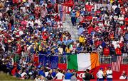 26 September 2021; An Irish tricolour in the stands among Team Europe fans during the Sunday singles matches at the Ryder Cup 2021 Matches at Whistling Straits in Kohler, Wisconsin, USA. Photo by Tom Russo/Sportsfile