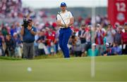26 September 2021; Rory McIlroy of Team Europe chips onto the 11th green during his Sunday singles match against Xander Schauffele of Team USA at the Ryder Cup 2021 Matches at Whistling Straits in Kohler, Wisconsin, USA. Photo by Tom Russo/Sportsfile