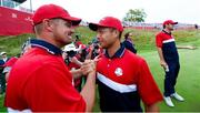26 September 2021; Bryson Dechambeau, left, and Xander Schauffele of Team USA celebrate after their Sunday singles matches at the Ryder Cup 2021 Matches at Whistling Straits in Kohler, Wisconsin, USA. Photo by Tom Russo/Sportsfile