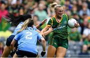 5 September 2021; Vikki Wall of Meath in action against Sinéad Goldrick, left, and Martha Byrne of Dublin during the TG4 All-Ireland Ladies Senior Football Championship Final match between Dublin and Meath at Croke Park in Dublin. Photo by Piaras Ó Mídheach/Sportsfile