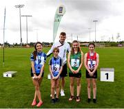 25 September 2021; Irish 100m sprinter Marcus Lawler, with the under-12 100m medalists, from left, Ellie Oldrey and Maebh Tinkler from Dublin, Megan O'Shea from Limerick and Ciara Whelan from Cork during the Aldi Community Games Track and Field Athletics finals at Carlow IT Sports Campus in Carlow. Photo by Matt Browne/Sportsfile
